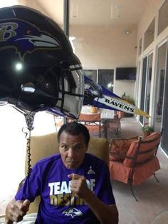 After reports of his failing health surfaced, Muhammad Ali's family tweeted this photo of the champ at a Super Bowl party
