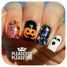 Glitter Pumpkin and Ghost Halloween Nail Art. Nails by IG@pleasedtopleaseyou.