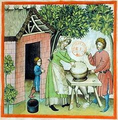 A Feast For The Eyes  63. Preparing butter; Tacuinum Sanitatis, 15th c., Paris.