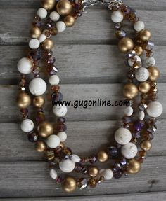 Three Strands of White, Gold, and Bronze Necklace