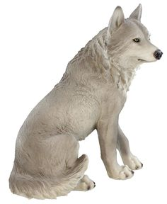 ih casa decor DW-29533 Resin Sitting Wolf -- For more information, visit now : Home Decor Sculptures