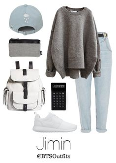"""School with Jimin"" by btsoutfits ❤ liked on Polyvore featuring River Island, NIKE, Kenneth Cole Reaction and LEXON"