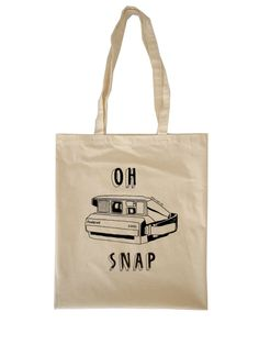 """the """"oh snap"""" tote bag. perfect for all your punny photographer friends."""