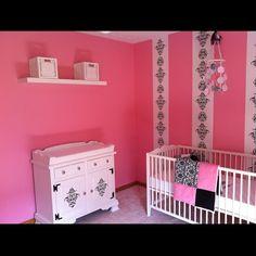 Micah's nursery, DIY nursery, black and white damask and pink nursery, black and white nursery, pink nursery, refinished furniture, antique dry sink, diy changing table, stencils, damask, sewing, DIY mobile, girl nursery