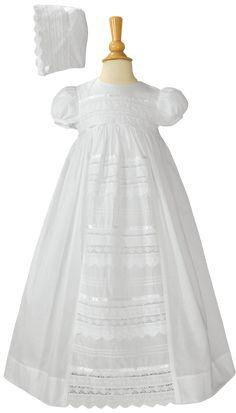 Venise Lace on 100% Cotton Handmade Heirloom Christening Gown (Baby Girls Newborn - 12 months)