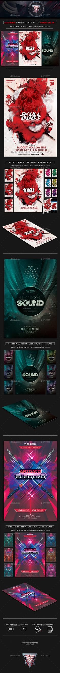 Electro Music #Flyer Bundle Vol. 39 - Flyers Print Templates Download here:  https://graphicriver.net/item/electro-music-flyer-bundle-vol-39/19631800?ref=alena994