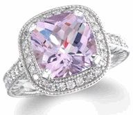 Pink amethyst ring with diamonds! This pink amethyst is a little on the purple side, but definitely not your traditional amethyst. Its also called a Rose Amethyst ring. This ring is made with white gold and diamonds that accent the pink amethyst stone. Amethyst And Diamond Ring, Purple Diamond, Pink Amethyst, Amethyst Jewelry, Amethyst Stone, Casual Rings, Diamond Are A Girls Best Friend, Ring Designs, Just In Case