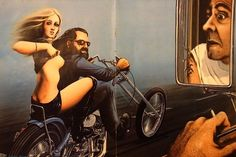Artwork by David Mann, watch American Pickers or do some research for yourself...David Mann has some amazing paintings.. http://automobilevehiclequotes.blogspot.com/#01091946