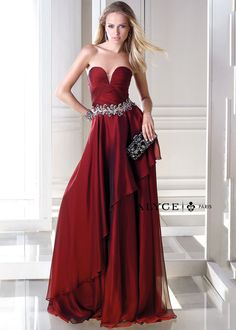 2015 burgundy tiered a-line ruched beaded chiffon skirt floor length prom dresses by b Prom Dresses 2015, Designer Prom Dresses, Trendy Dresses, Evening Dresses, Bridesmaid Dresses, Formal Dresses, Wedding Dresses, Dress Prom, Ball Dresses