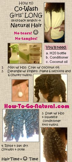Tips for co-washing long natural hair Click for a natural cleansing conditioner…