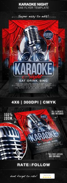 Karaoke Open Mic Battle Flyer  Karaoke Flyer Template And Party