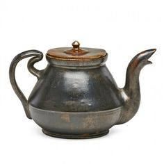 "GEORGE OHR Teapot with ribbon handle, gunmetal glaze, Biloxi, MS, 1895-6; GEO. E. OHR BILOXI, MISS.; 4"" x 7"""