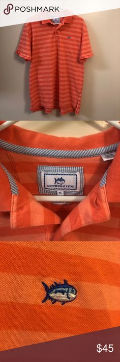 Classy southern tide polo shirt Shirt is perfect condition like new. Shirt is a peach color more than orange. Size XL but fits like Large. Southern Tide Shirts Polos
