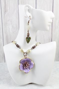 Long Pendant Necklace for Her  Purple Flower by LeilaNicoleDesigns