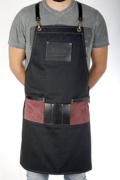 Barista apron, premium quality leather & canvas, with pockets for accessories, in Ash Gray or Amber Yellow - DYLAN Barista, Coffee Brown Color, Leather Suspenders, Business Checks, Ash Grey, Leather Fabric, Perfect Match, Laser Engraving, Work Wear