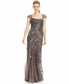Adrianna Papell Cap-Sleeve Sequined Gown - Dresses - Women - Macy's  color graphite