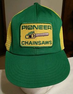 01484eb0257 Vintage Pioneer Chainsaws Snapback Hat baseball Cap logo patch trucker Size  S M