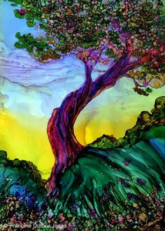 My tree today. Getting ready to present my tree class in alcohol inks at Blaines Art Supply. http://alcoholinktips.com