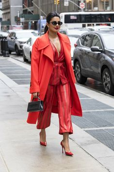 Priyanka Chopra - turns the streets of New York City into a runway in a stunning all red ensemble - April 25, 2018