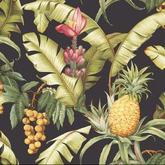 Love this pineapple black and tropical wallpaper for a cabana bath wallpaper. Pineapple Wallpaper, Palm Wallpaper, Tropical Wallpaper, Black Wallpaper, Funky Wallpaper, Maui, Cabana, Pineapple Planting, Create Your Own Wallpaper