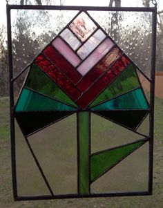 Stained Glass Panel  Red Rose Valentine by PeaceLuvGlass on Etsy, $63.00