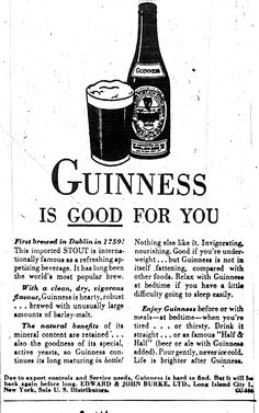 """Relax with Guiness at bedtime if you have a little difficulty going to sleep easily..."""