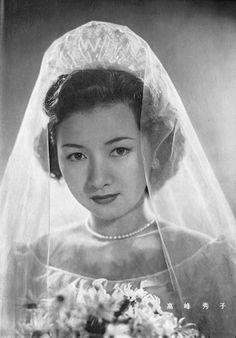 Japanese movie star Hideko Takamine as a bride in Eiga Star, 1950.