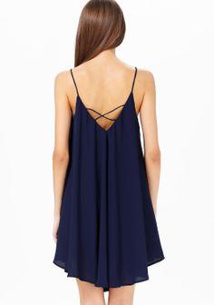 Navy Spaghetti Strap Backless Loose Dress - Sheinside.com
