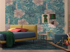 Van-gi By inkiostro bianco, panoramic wallpaper with floral pattern, undressing surfaces Collection