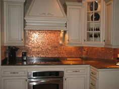 """My Penny Backsplash, Inspired by penny floors from """"Living Off the Grid"""" on Facebook, this is my approximately 6000 pennies worth of kitchen backsplash I installed July 5-7, 2012. , My new kitchen penny backsplash., Kitchens Design"""