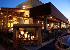 Patios at Beckett's Table - two sided fireplace