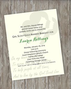 Girl Scout Gold Award Invitations 5 by ItsAllAboutTheCards on Etsy, $15.00