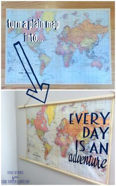 LOVE this DIY map art idea!  It's so easy!  Ignite your wanderlust with this thrifty and fun DIY travel quote map art!