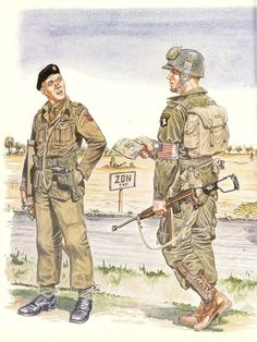 American 101st Airborne and British tanker in black beret.
