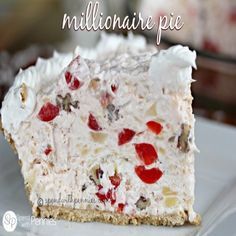 Millionaire Pie- Yummy!, Serves: 1 Pie, Directions: 1.  In a large bowl, combine coconut, crushed pineapple, maraschino cherries, pecans, (Eagle Brand) Sweetened Condensed Milk, lemon juice and maraschino cherry juice.  2. Gently fold in whipped topping. Pour into crust.  3. Top with additional whipped topping and cherries if desired. Refrigerate 3 hours or overnight.