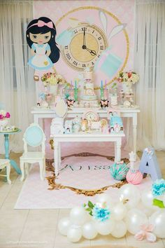 Loving this gorgeous pastel Alice In Wonderland Birthday Party! The dessert table is amazing. See more party ideas and share yours at CatchMyParty.com