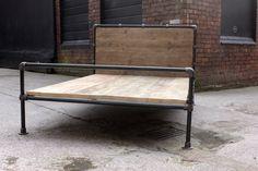 Amy Dark Steel Pipe and Reclaimed Industrial Scaffolding Board Double Bed Frame - Bespoke Industrial Furniture by www.urbangrain.co.uk