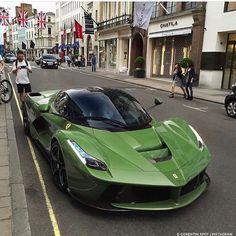 Green Ferrari LaFerrari! Photo via: @corentin.spot Second page: @M85Media Other page: @StancedAutohaus #AmazingCars247 #street #drive #exoticcar