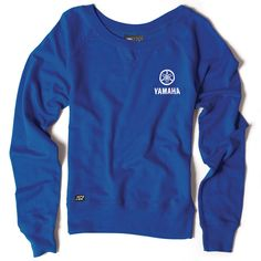 The Yamaha Women's Crew Sweatshirt features blue medium-weight fleece, with a widened collar. Yamaha branding screen printed on the left chest. Official Yamaha licensed apparel.