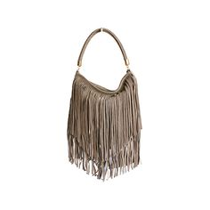 589d5c49a444 Alexis Italian Fringed Taupe Suede Leather Hobo Satchel Bag - £49.99