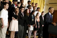 Students laugh at a joke by President Obama as he delivers remarks for the 2015 White House Science Fair at the White House in Washington, March 23, 2015. REUTERS/Jonathan Ernst