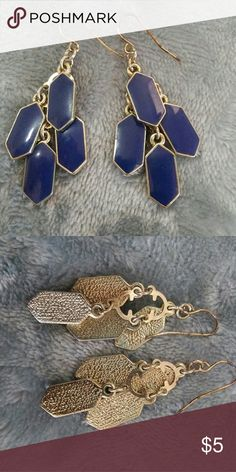 Blue and gold earrings Dangling navy blue and gold earrings. Used. Jewelry Earrings