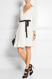 Seduction lace-paneled wool-jersey wrap dress