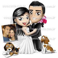 Caricatura para casamento - Noivos Carla e Rodrigo - noivinhos cuttie