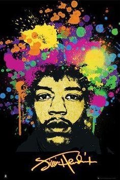 Jimi Hendrix Splatters (24x36) - MUS89896