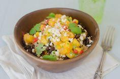 Black Bean & Corn Quinoa Bowls with Peach Salsa by Pink Parsley Blog