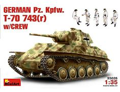 The MiniArt German Pz.Kpfw.743(r) T-70 with Crew in 1/35 scale from the plastic tank models range accurately recreates the real life captured Russian light tank from World War II. This plastic tank kit requires paint and glue to complete.
