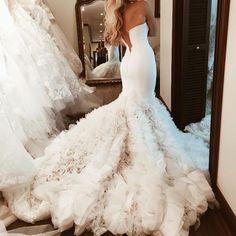 sweetheart bodice corset mermaid wedding dresses organza ruffles 2018 bridal gowns