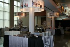 """Color version of same buffets- Jumbo """"lampshades"""" used as focal points in the room Focal Points, Buffets, Lampshades, Event Design, Table, Room, Furniture, Home Decor, Bedroom"""