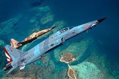 F-5Ns of VFC-111, US Navy, flying over Dry Tortugas National Park in Florida.